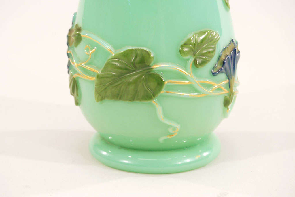 19th C Baccarat Opaline Celadon Crystal Vase At 1stdibs
