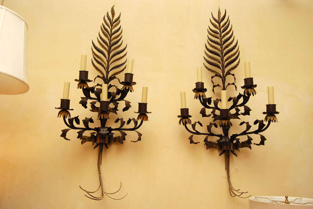 Pair large Italian  Wrought Iron and Tole Sconces In Good Condition For Sale In Hudson, NY