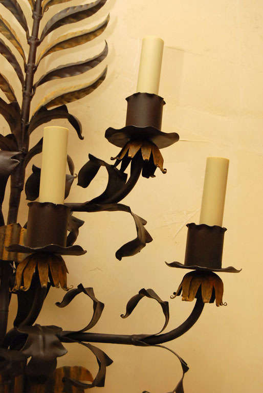 Pair large Italian  Wrought Iron and Tole Sconces For Sale 2