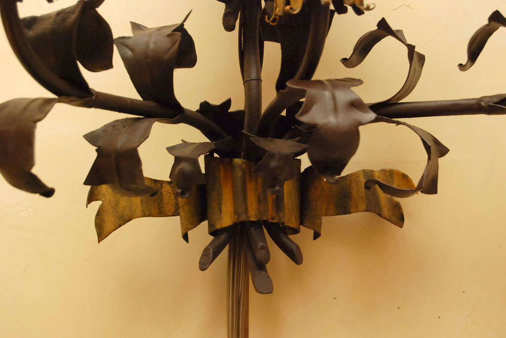 Pair large Italian  Wrought Iron and Tole Sconces For Sale 3