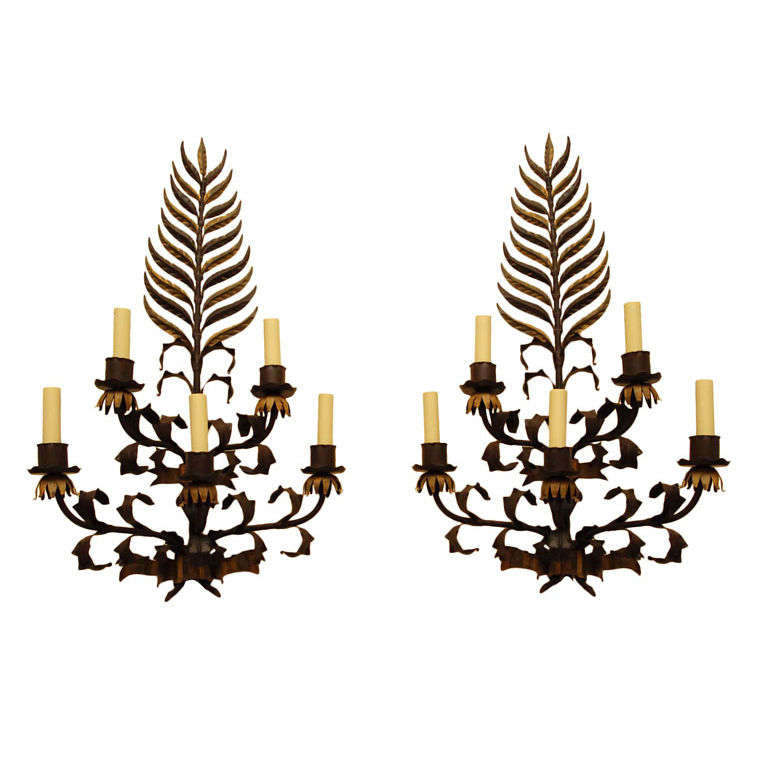 Pair large Italian  Wrought Iron and Tole Sconces For Sale
