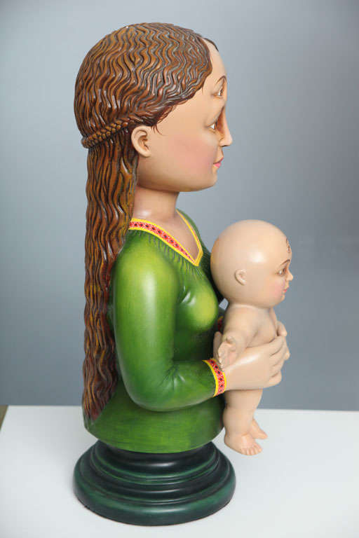 Mexican Madonna and Child Sculpture by Sergio Bustamante 'Signed' For Sale