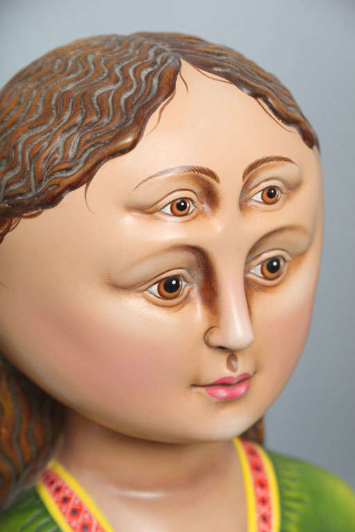 Ceramic Madonna and Child Sculpture by Sergio Bustamante 'Signed' For Sale