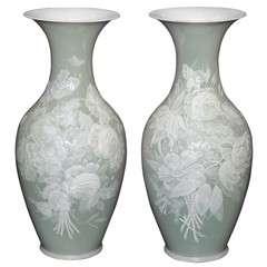 Pair Old French Pate sur Pate Celadon Vases circa 1890-1915