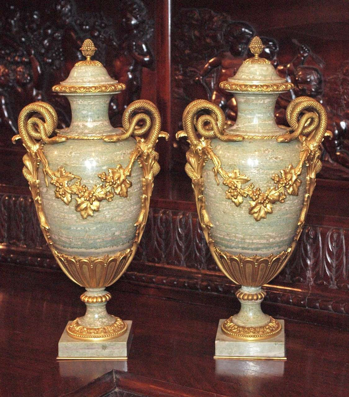 Pair Antique Marble Cassoulets with Bronze Mounts 2