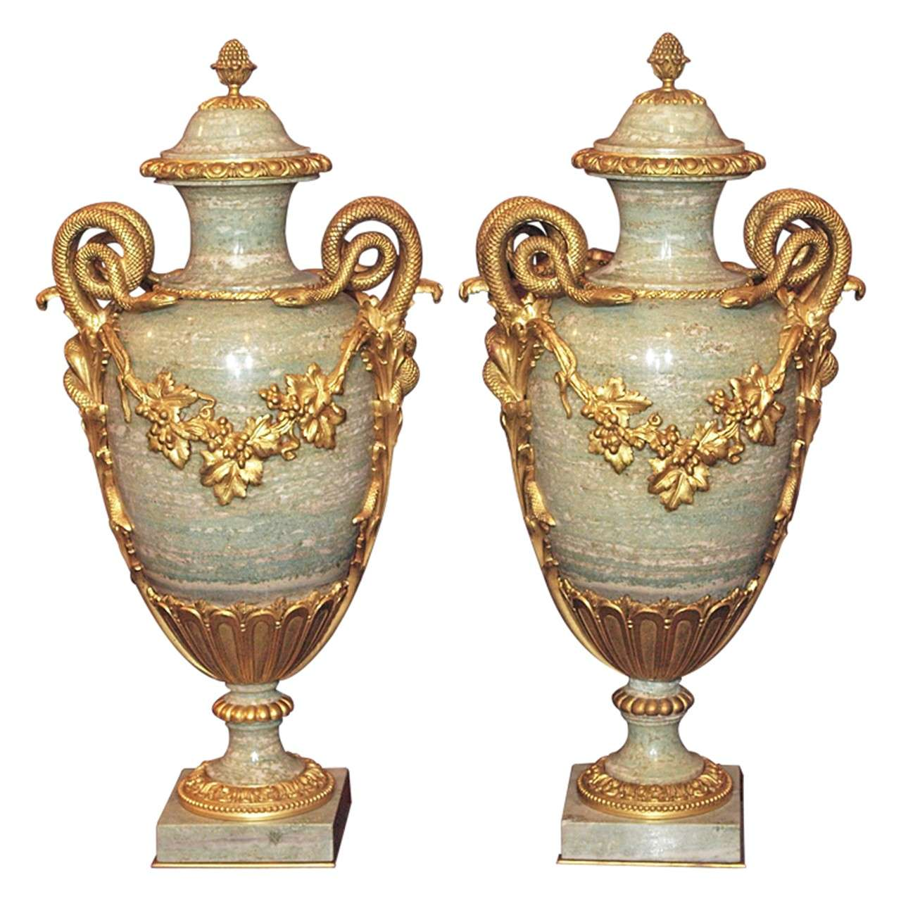 Pair Antique Marble Cassoulets with Bronze Mounts 1