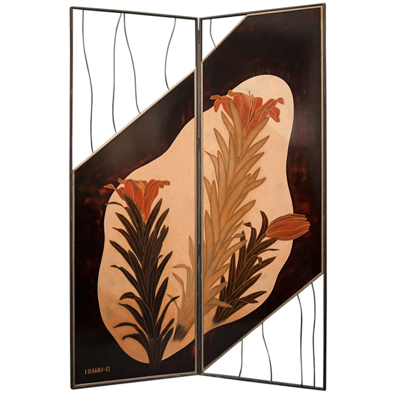 Japanese Lacquer Two-Panel Screen, Lily Flowers
