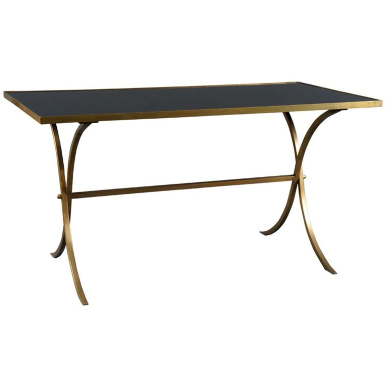 Brass Coffee Table with Black Top For Sale