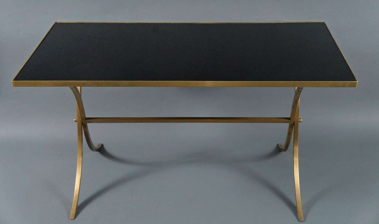 French Brass Coffee Table with Black Top For Sale