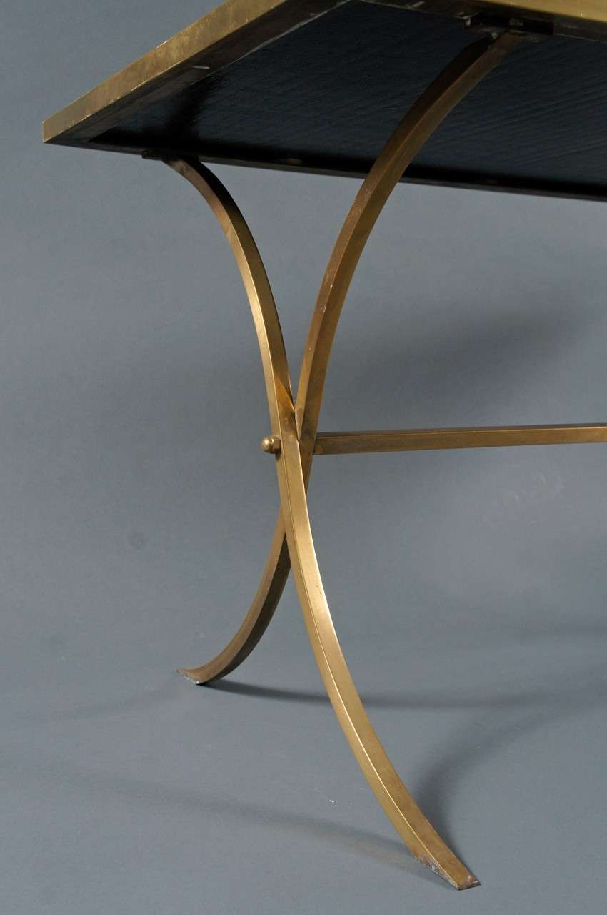 Brass Coffee Table with Black Top In Excellent Condition For Sale In Hudson, NY