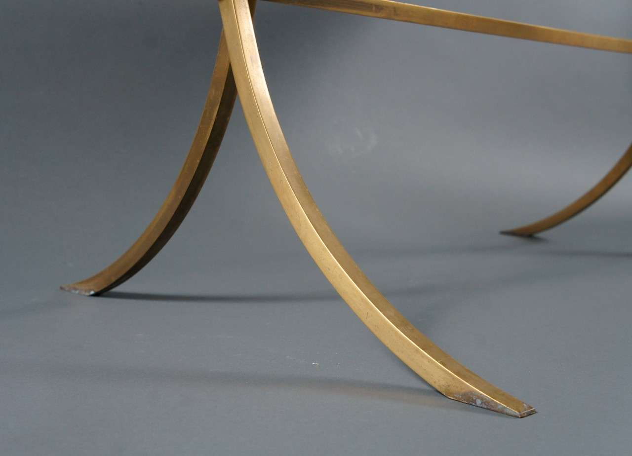 Brass Coffee Table with Black Top For Sale 1