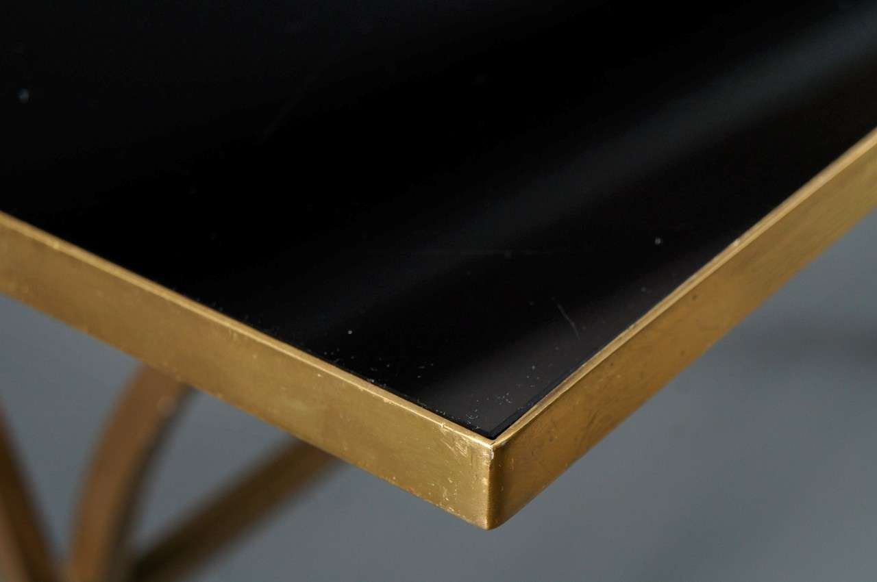 Brass Coffee Table with Black Top For Sale 2