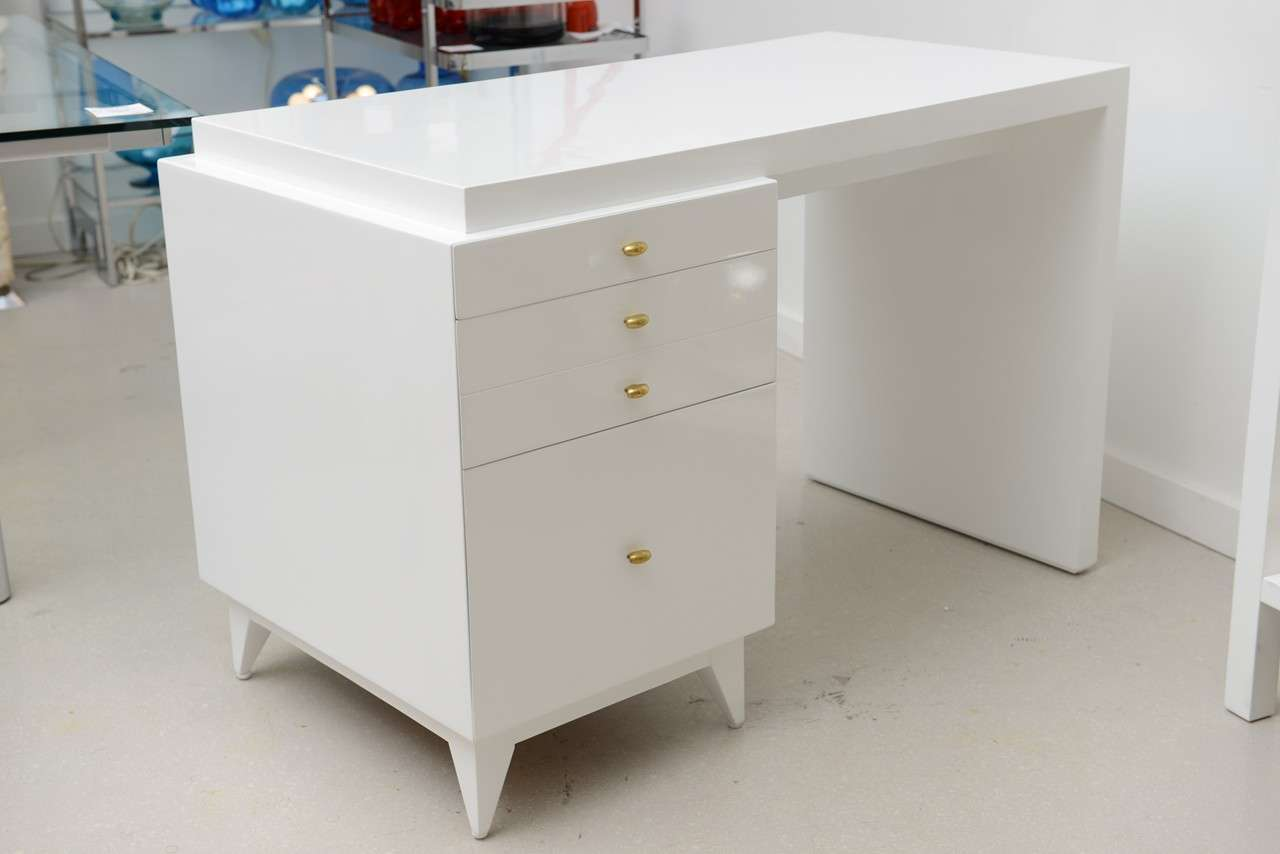 Mid Century Modern White Lacquer Desk at 1stdibs