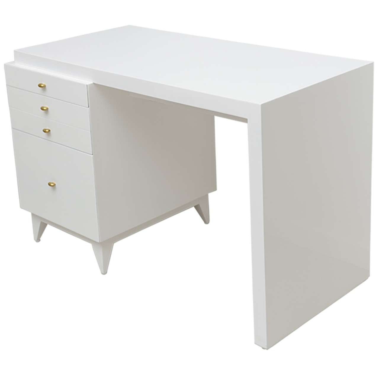 Mid Century Modern White Lacquer Desk For
