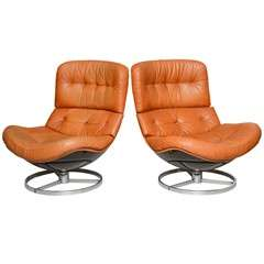 Pair of Unusual Milo Baughman Swivel Chairs