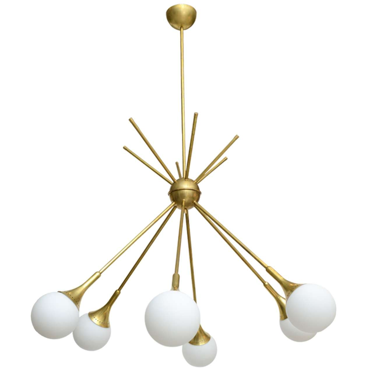 Large vintage stilnovo sputnik chandelier at 1stdibs for Sputnik chandelier