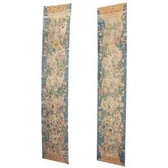 Pair of 19th century cotton and silk panels