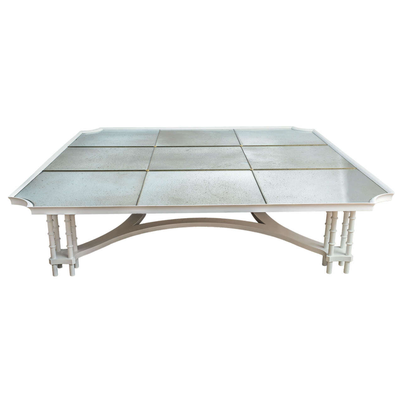 Large Nine Panel Glomis Mirrored Top Cocktail Table With Lacquered Base At 1stdibs