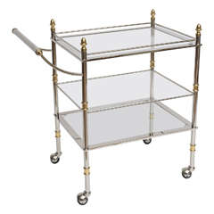 Three-Tier Italian Bar Cart in Nickel and Brass