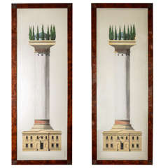 Two Surreal Architectural Watercolours