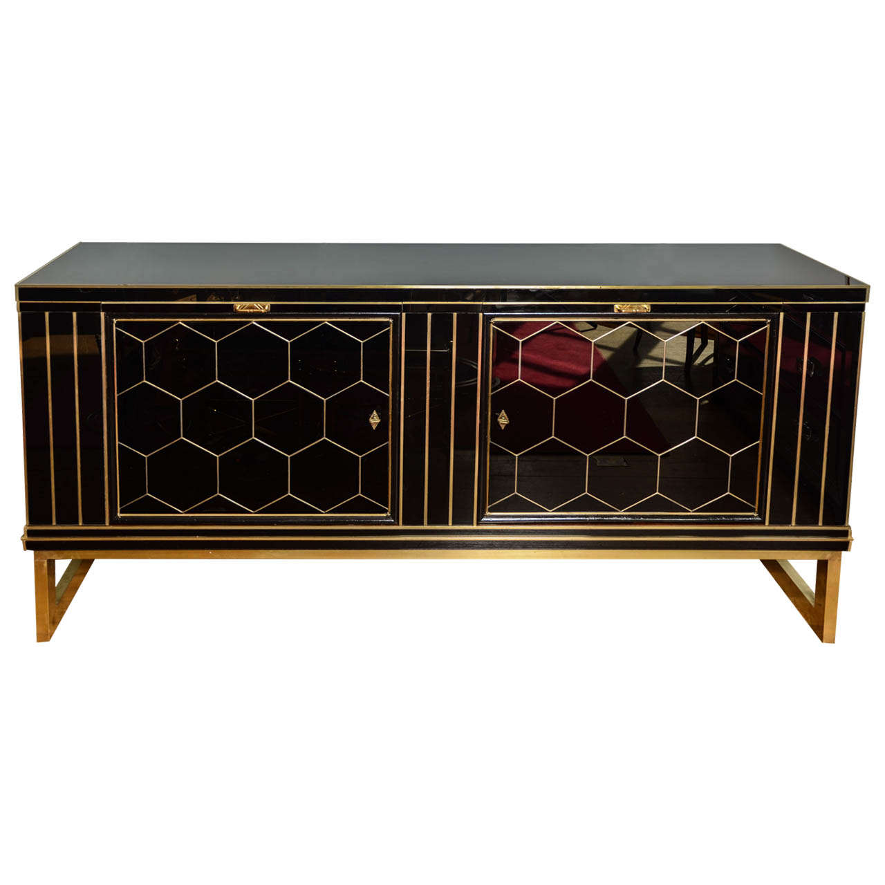 Imposing Italian Black Glass Sideboard 1 - Imposing Italian Black Glass Sideboard At 1stdibs