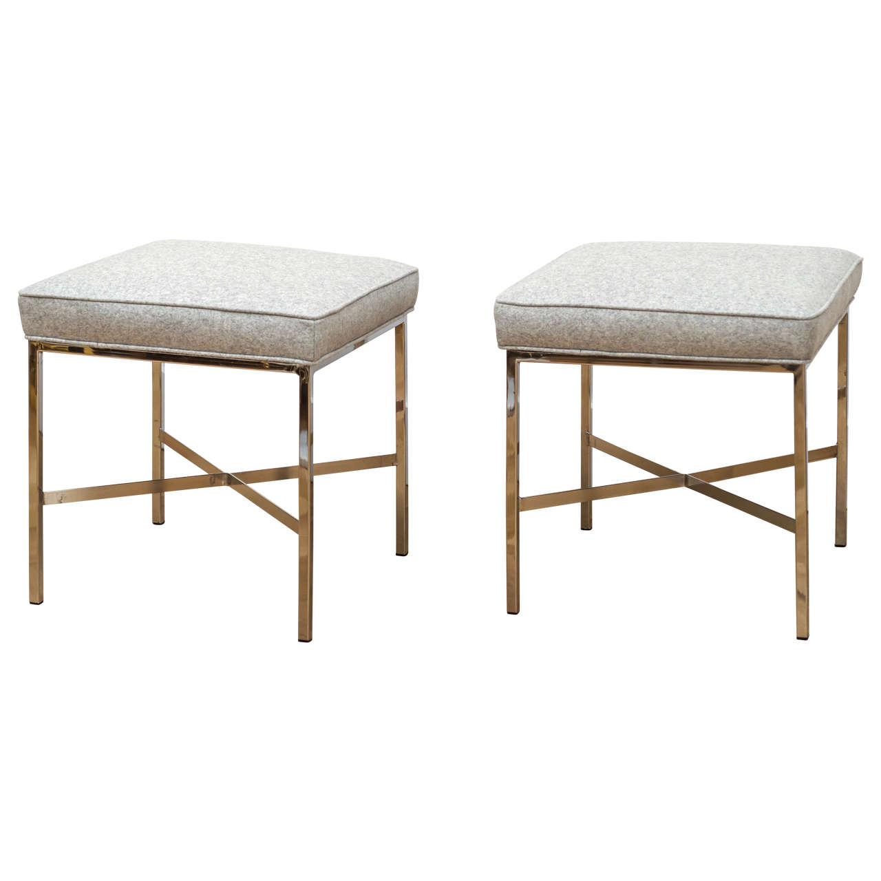 Pair Of Chrome Stools At 1stdibs
