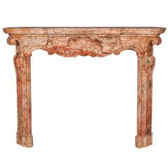 Impressive 18th Century Italian Baroque Sarrancolin Marble Mantel Piece