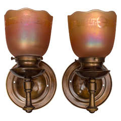 Pair of Arts & Crafts Sconces with Carnival Glass Shades