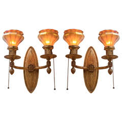 Gilt Bronze and Art Glass Sconces
