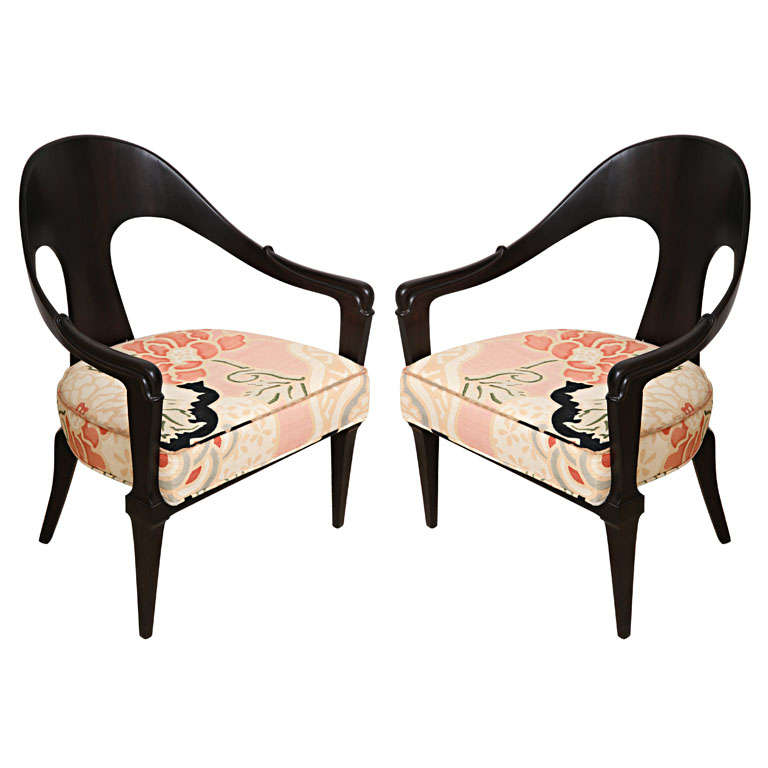 Pair Of Hollywood Regency Style Ebonized Spoon Back Chairs, Donghia Fabric 1