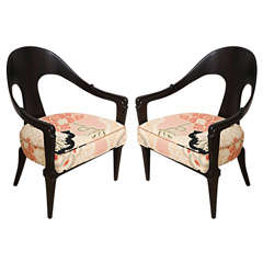 Pair of Hollywood Regency Style Ebonized Spoon Back Chairs, Donghia Fabric