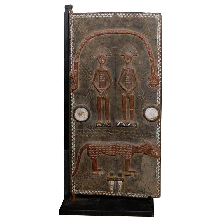 African Decorative Carved And Painted Door From The Baule