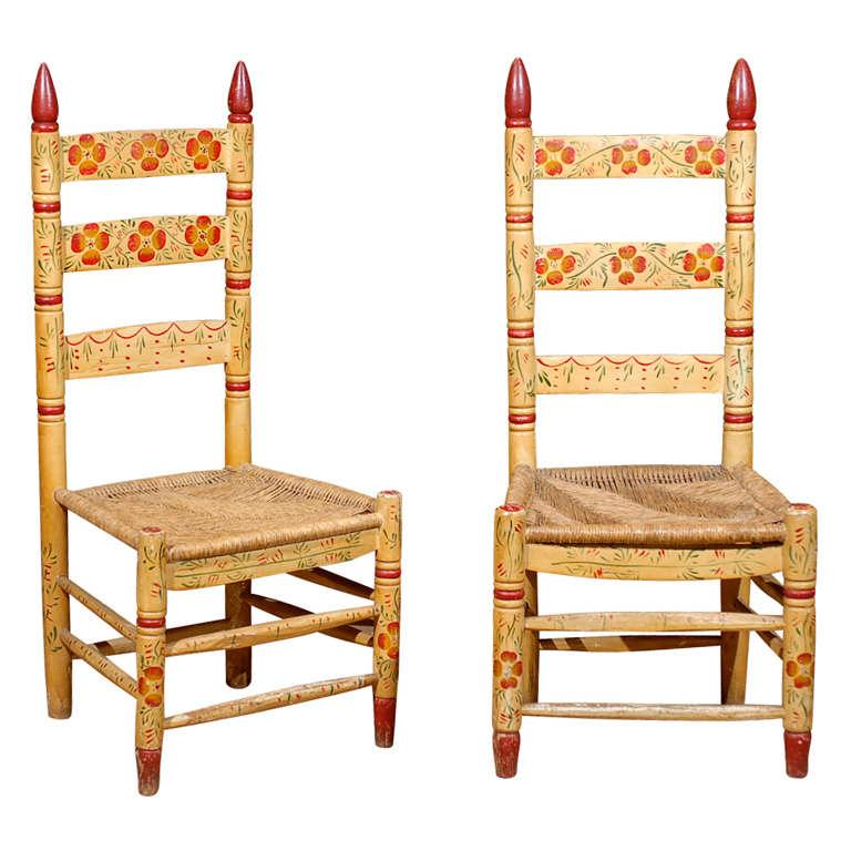 Pair Pennsylvania Dutch Ladder Back Chairs At 1stdibs