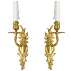 Pair of Louis XV Style Gilt Bronze Single Light Wall Appliques, 19th Century