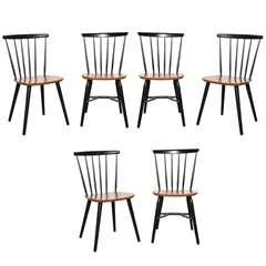 6 Farstrup Teak & Black Lacquer Chairs