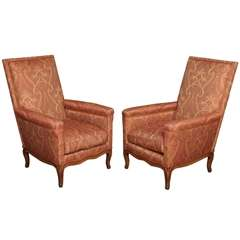 Pair of French Upholstered Walnut Bergeres
