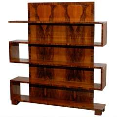 Art Deco Walnut Bookcase with Tall Back