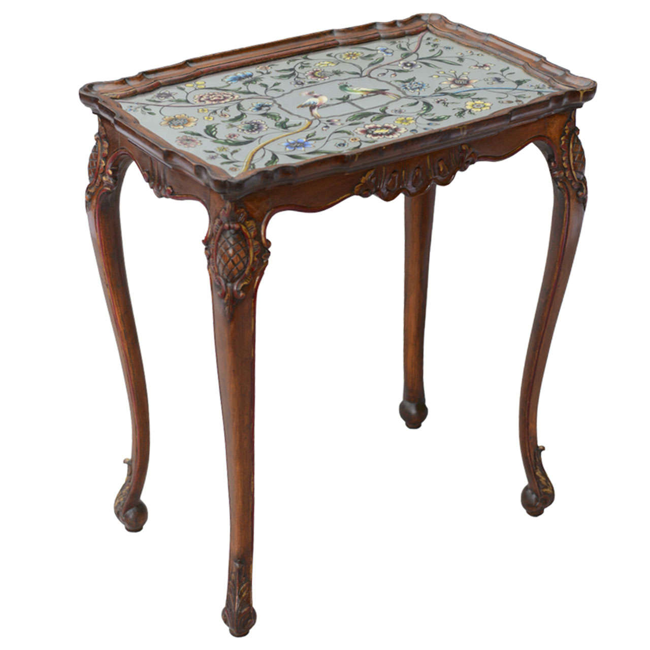 Accent Table With Eglomise Top
