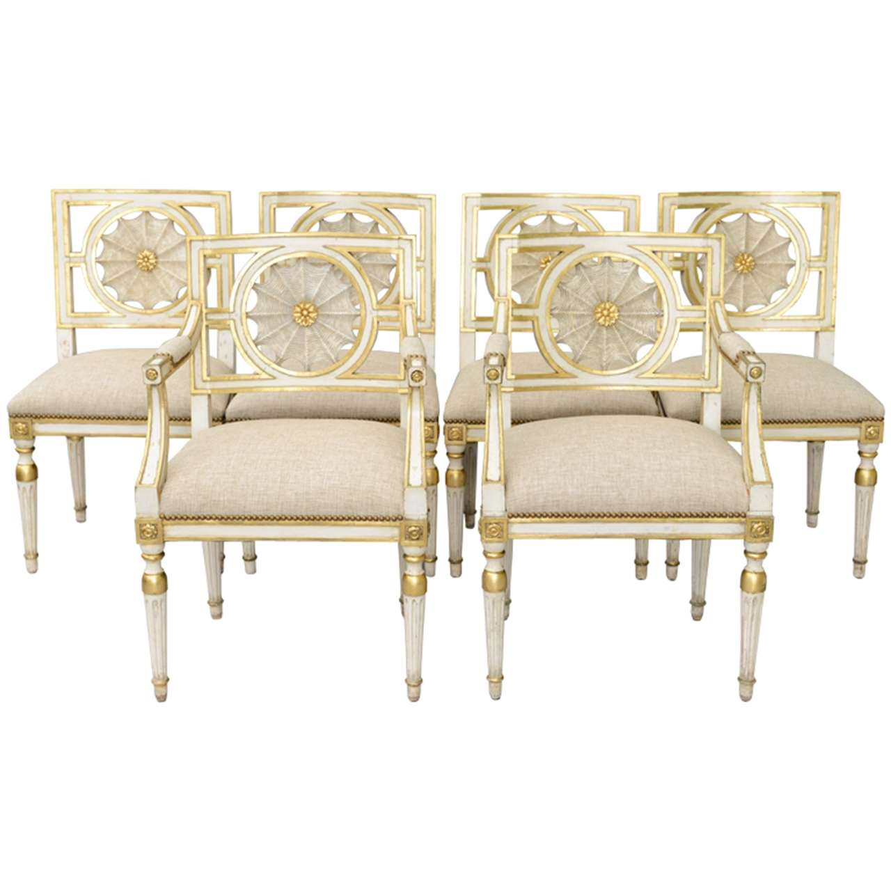 Set of six web back italian dining room chairs at 1stdibs for Italian dining room sets