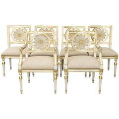 Set of Six Web Back Italian Dining Room Chairs