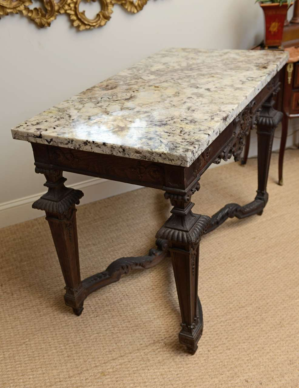 Finely Carved 19c. Oak Console Table With Granite Top For ...