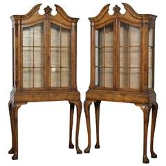 19th Century Matching Pair George II Style Display Cabinets