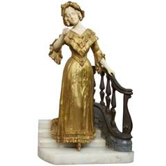 Bronze and Ivory Statue Woman Descending Staircase