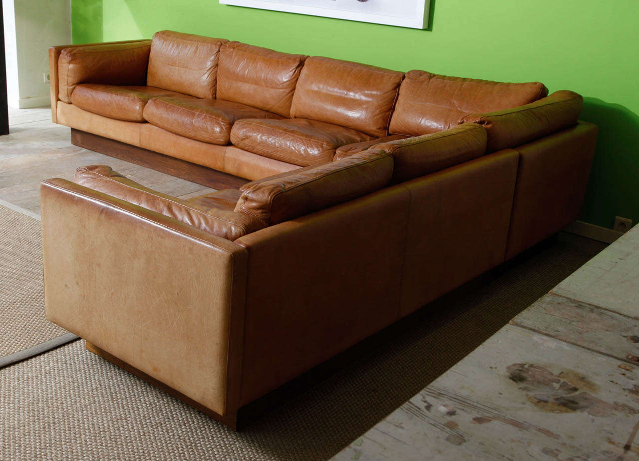 1970s Wood Furniture ~ L shaped leather and wood sofa at stdibs