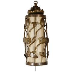 Brass Lotus Swag Pendant