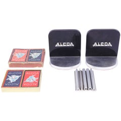 Machine Age Alcoa Advertising Desk Set, Vitrolite, Extruded Aluminum Art Deco