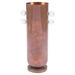 Bauhaus Influenced Art Deco Copper Vase with Lucite Ornamentation