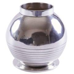 Machine Age Art Deco Sigvard Bernadotte for Jorgen Jensen Silver Plate Vase