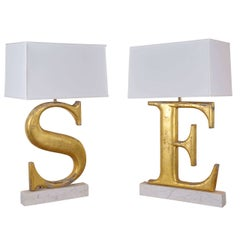 Lamps Made from 19th Century Shop Letters
