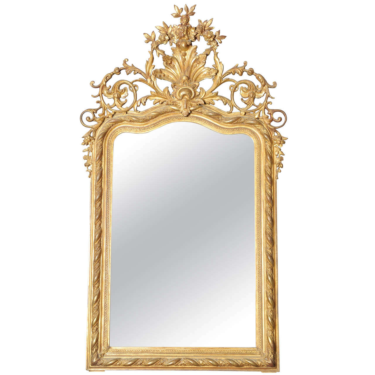 Very Rich and Elaborate French Gilt Wood Over Mantel Mirror
